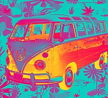 Colorful VW 21 window Mini Bus Pop Art image by KWJphotoart
