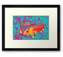 Colorful VW 21 window Mini Bus Pop Art image Framed Print