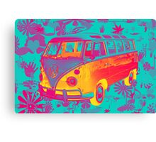 Colorful VW 21 window Mini Bus Pop Art image Canvas Print