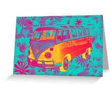 Colorful VW 21 window Mini Bus Pop Art image Greeting Card
