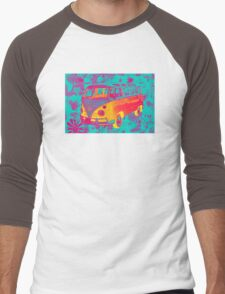Colorful VW 21 window Mini Bus Pop Art image Men's Baseball ¾ T-Shirt