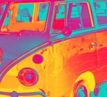 Colorful VW 21 window Mini Bus Pop Art image Sticker
