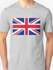 UK Union Jack flag - Authentic version (Duvet, Print on Blue background) Unisex T-Shirt
