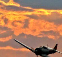 Japanese Zero Fighter Plane at Sunset Sticker