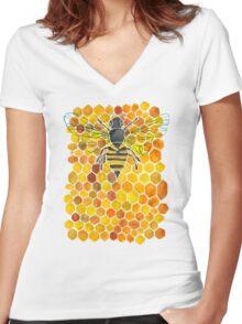 Honeybee Women's Fitted V-Neck T-Shirt