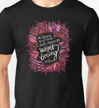 Zelda Fitzgerald – Pink & Gold on Charcoal Unisex T-Shirt