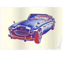 Austin Healey 300 Sports Car Pop Image Poster