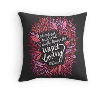 Zelda Fitzgerald – Pink & Gold on Charcoal Throw Pillow