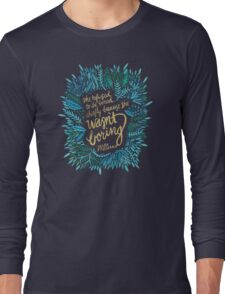 Zelda Fitzgerald – Blue & Gold on Charcoal Long Sleeve T-Shirt
