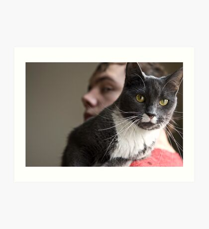 A Cat and Her Boy Art Print