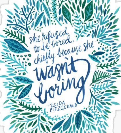 Zelda Fitzgerald – Blue on White Sticker