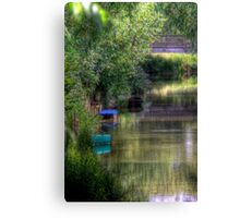 Boats in the Canal - Oxford, Oxfordshire, United Kingdom Canvas Print