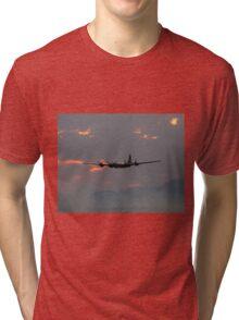 B-29 Bomber Plane flying at Sunset Tri-blend T-Shirt