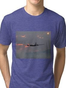 B-29 Bomber Plane flying at Sunset Tri-blend T-Shirt