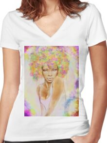 The girl with new hair style Women's Fitted V-Neck T-Shirt