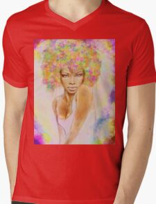 The girl with new hair style Mens V-Neck T-Shirt
