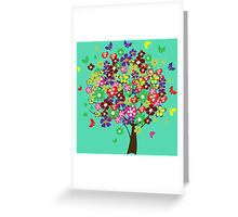Colorful floral tree Greeting Card