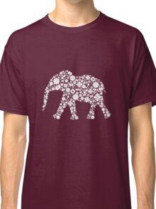Flower Elephant: White Classic T-Shirt