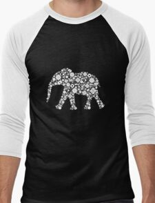 Flower Elephant: White Men's Baseball ¾ T-Shirt