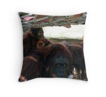Orangutan mother and her baby  Throw Pillow