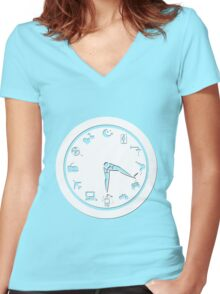 Paper Clock for Girls Women's Fitted V-Neck T-Shirt