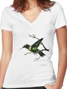 Hummingbird Highway Women's Fitted V-Neck T-Shirt