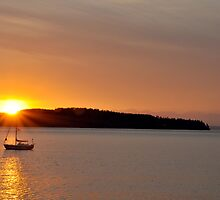 Another Sail Sunset A by Jerome Petteys
