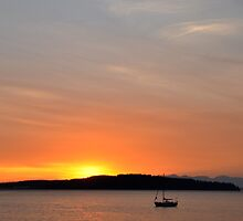 Another Sail Sunset B by Jerome Petteys