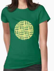 Green hatch on yellow Womens Fitted T-Shirt