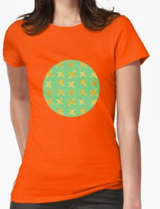 Yellow cross on green Womens Fitted T-Shirt