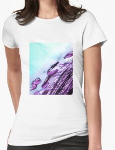 Light Blue Abstract Watercolor  Womens Fitted T-Shirt