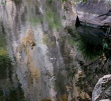 Water reflections from a cliff face. by Marilyn Baldey