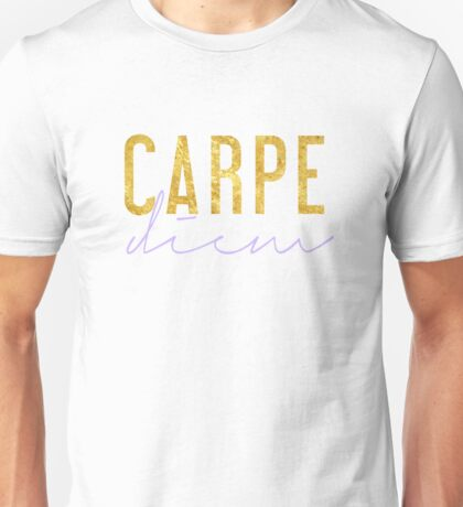 Carpe Diem - Seize the Day - Lilac and Gold Unisex T-Shirt