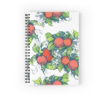 Red apples with green leaves  Spiral Notebook