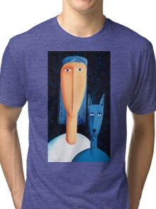 Woman and Cat Tri-blend T-Shirt