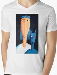 Woman and Cat Mens V-Neck T-Shirt