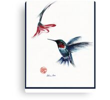 ANGEL - hummingbird & flower painting/drawing Canvas Print
