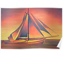 Sienna Sails at Sunset Poster