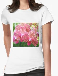 Pink and White Orchids Womens Fitted T-Shirt