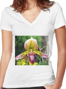 Purple and Yellow Orchid Women's Fitted V-Neck T-Shirt