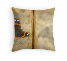 Red Admiral with Book Texture Throw Pillow