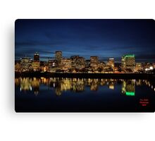 The Waterfront After Dark Portland, Oregon Canvas Print