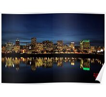The Waterfront After Dark Portland, Oregon Poster