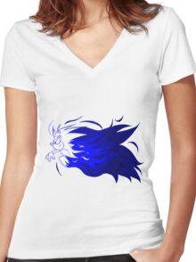 Sonic Flaming Dash Logo Women's Fitted V-Neck T-Shirt