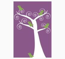 5 green birds and a tree (purple background) Kids Tee
