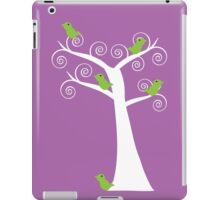 5 green birds and a tree (purple background) iPad Case/Skin
