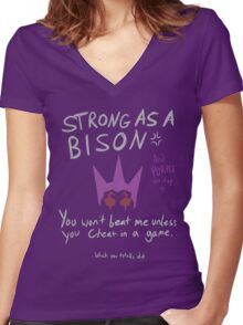 Strong as a Bison Women's Fitted V-Neck T-Shirt