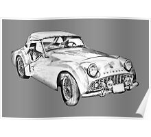 1957 Triumph TR3 Convertible Sports Car Illustration Poster