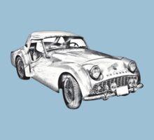 1957 Triumph TR3 Convertible Sports Car Illustration Baby Tee