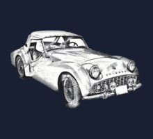 1957 Triumph TR3 Convertible Sports Car Illustration One Piece - Short Sleeve